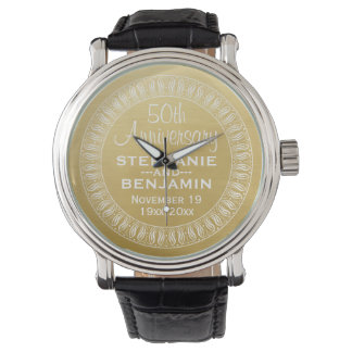 50th Wedding Anniversary Personalised gold Wristwatch