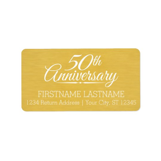 50th Wedding Anniversary Personalised Golden Label