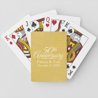50th Wedding Anniversary Personalised Golden Playing Cards