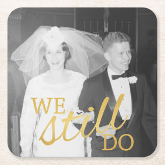 50th Wedding Anniversary Personalised Photo Golden Square Paper Coaster