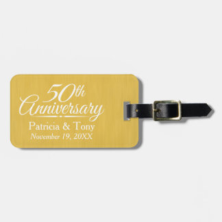 50th Wedding Anniversary Personalized Golden Luggage Tag