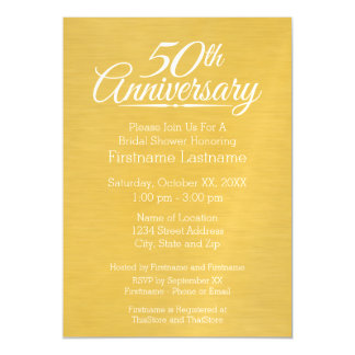 50th Wedding Anniversary Personalized Golden Magnetic Invitations