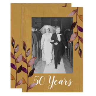 50th Wedding Anniversary Photo - Gold Eggplant Card