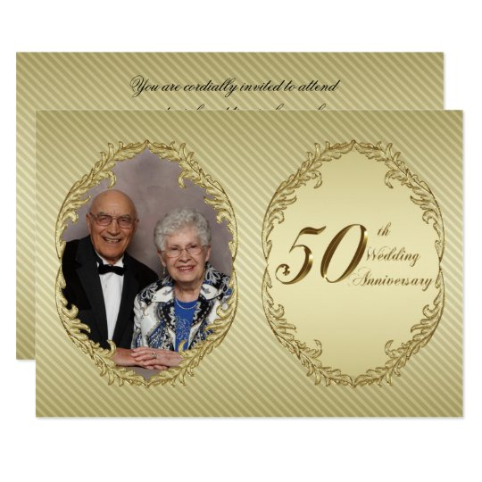 50th Wedding Anniversary Photo Invitation Card