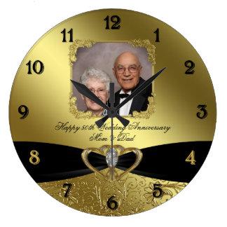 50th Wedding Anniversary Photo Wall Clock