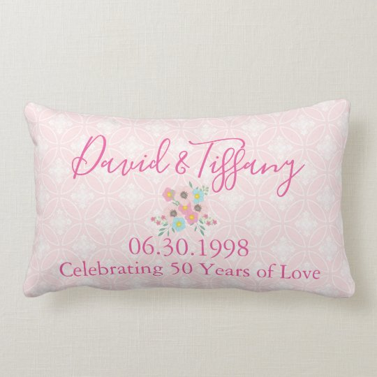50th Wedding Anniversary Pink and Silver Lumbar Cushion