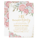50th Wedding Anniversary Pink Gold Floral Card