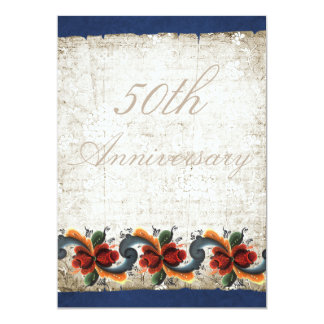 50th Wedding Anniversary Rosemaling Custom Card