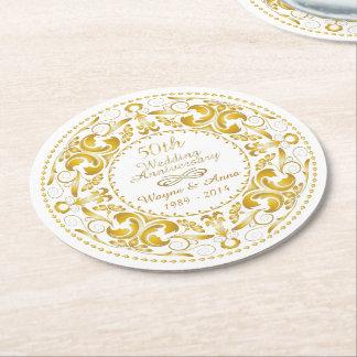 50th Wedding Anniversary - Round Paper Coaster