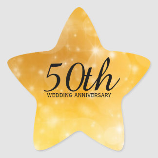 50th Wedding Anniversary Star-Shaped Gold Sticker