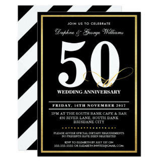 50TH WEDDING ANNIVERSARY stylish gold INVITES
