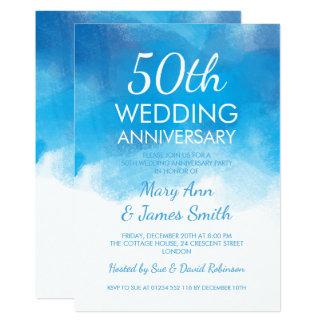 50th Wedding Anniversary Summer Blue Watercolor 13 Cm X 18 Cm Invitation Card