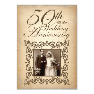 50th wedding anniversary vintage invitation