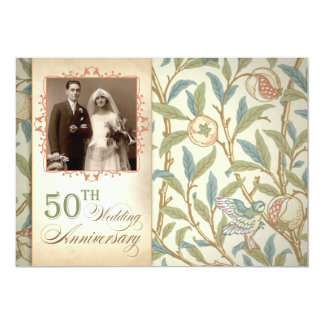"50th wedding anniversary vintage photo invitations 5"" x 7"" invitation card"