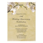 50th Wedding Anniversary Vintage White Orchid Custom Invitations