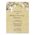 50th Wedding Anniversary Vintage White Orchid 13 Cm X 18 Cm Invitation Card