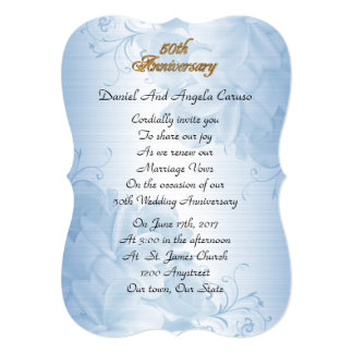 50th Wedding anniversary vow renewal blue satin Card