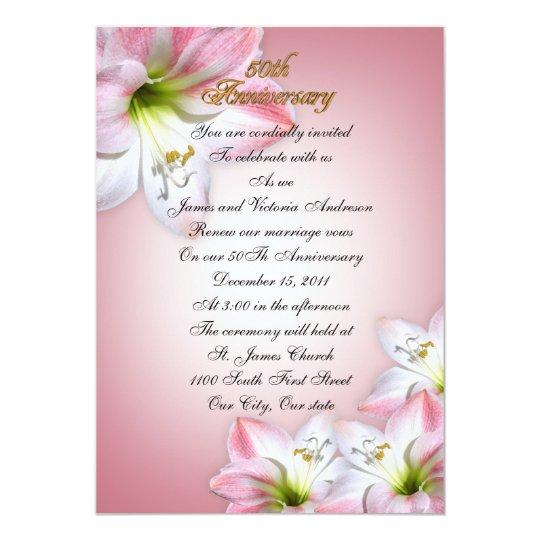 50th Wedding Anniversary Vows Renewal: 50th Wedding Anniversary Vow Renewal Pink Amarylis Card