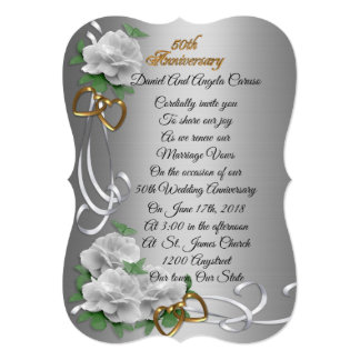 50th Wedding anniversary vow renewal white roses Card