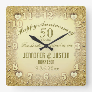 50th Wedding Anniversary Wallclock