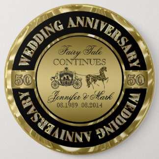 50th Wedding Anniversary-Wedding Horse & Carriage 6 Cm Round Badge