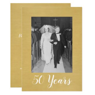 50th Wedding Anniversary with Photo - Brushed Gold Card