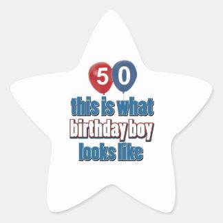 50th year birthday designs star sticker