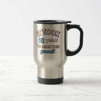 50th year birthday designs travel mug