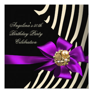 50th Zebra Purple Gold Cream Black Birthday Party Card