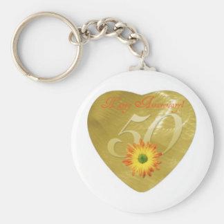 50thAnniversary Basic Round Button Key Ring