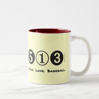 513 Area Code Peace Love Baseball Mug