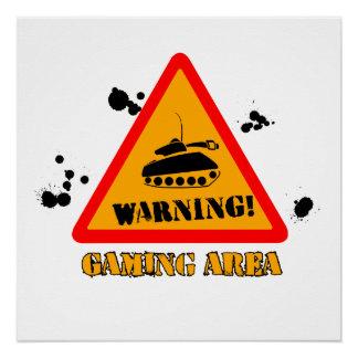 "51 cm x 51 cm (20"" x 20""), Warning Gaming Poster"