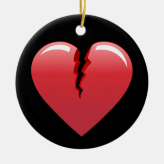 51 CORAL BROKEN HEART LOVE LOST PAST SAD BLACK BAC CERAMIC ORNAMENT
