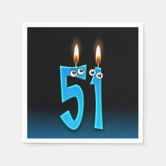 51st birthday candle with eyeballs disposable serviette