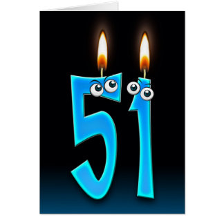 51st birthday candles card