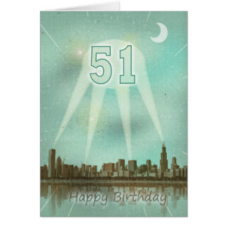 51st Birthday card with a city and spotlights
