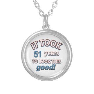 51st birthday designs round pendant necklace