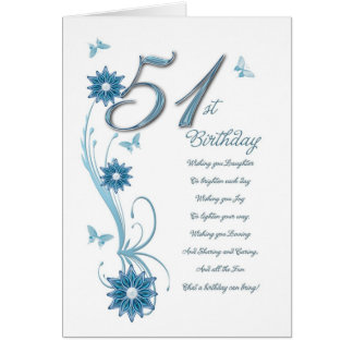 51st birthday in teal with flowers and butterfly card