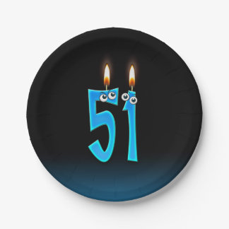 51st Birthday with lit candle numbers Paper Plate
