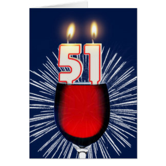 51st Birthday with wine and candles Card