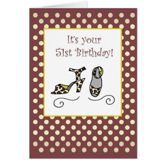 51st Birthday Women's Shoes, Heels, Dots Card