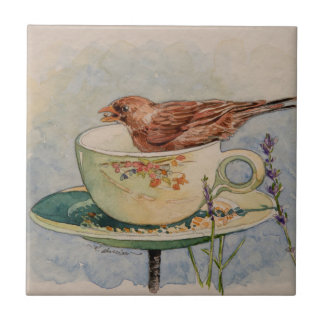 5293 Sparrow in Teacup Feeder Ceramic Tile