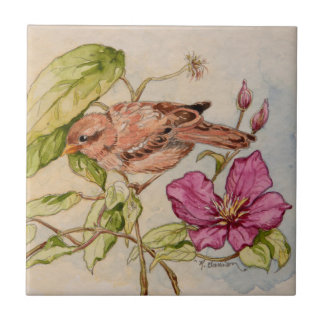 5298 Sparrow on Clematis Ceramic Tile