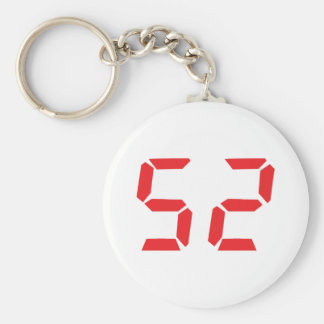 52 fifty-two red alarm clock digital number key ring