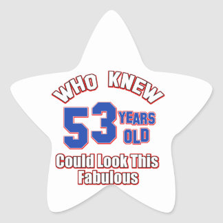 52 years Old birthday designs Star Sticker