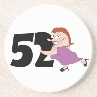 52nd birthday gifts - Funny cartoon birthday Beverage Coasters