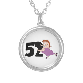 52nd birthday gifts - Funny cartoon birthday Silver Plated Necklace