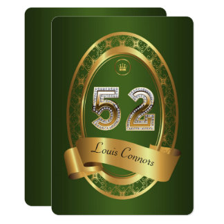 52nd,birthday party woman man,elegant color card