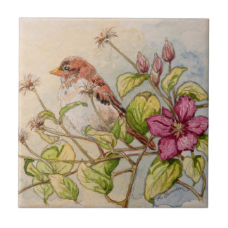 5302 Sparrow on Clematis Tile
