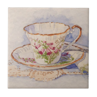 5316 Teacup on Lace Ceramic Tile